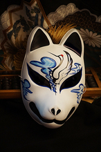 Hand-Painted Full Face Japanese Fox Mask Demon Kitsune Cosplay Masquerade Collection Japanese Noh Party Carnival C6 зеркало в багетной раме evoform definite 74x74 см беленый дуб 57 мм by 1026