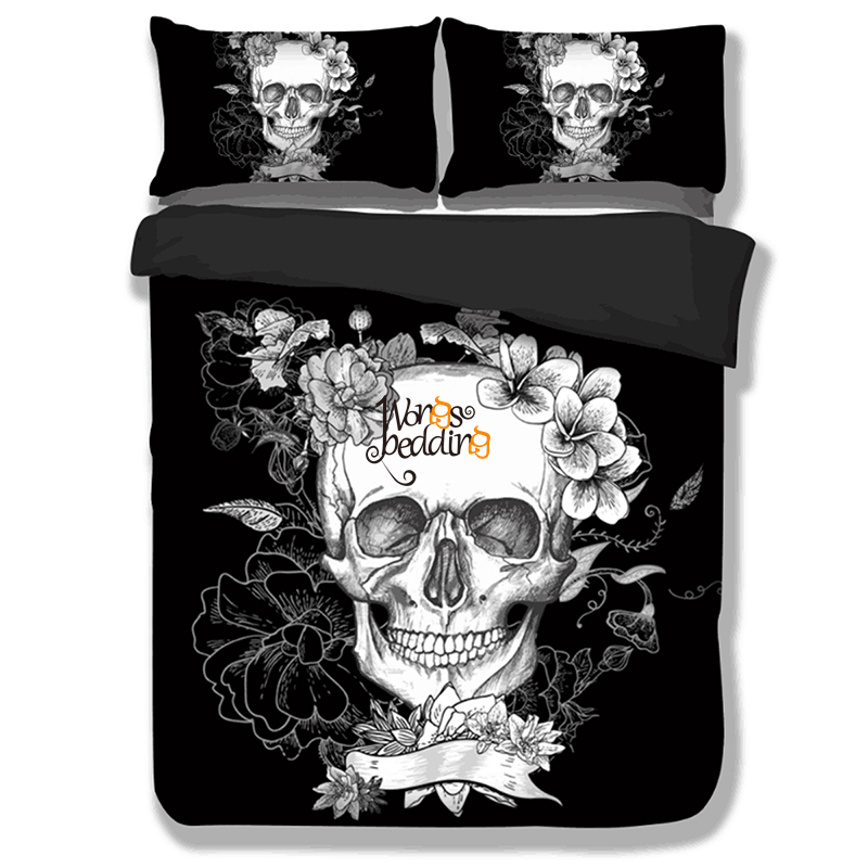 3d Skull Bedding Sets Plaid Duvet Covers For Twin Full