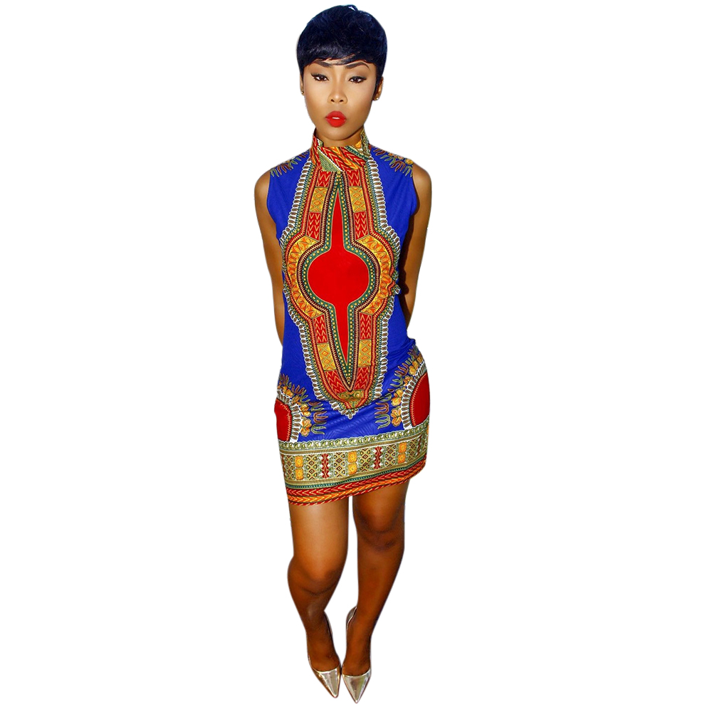 b5944c7d2059 Women Summer Dashiki Dress 2016 New Sexy Sleeveless Traditional African  Print Ladies Turtleneck Bodycon Party Office Dresses-in Dresses from  Women s ...