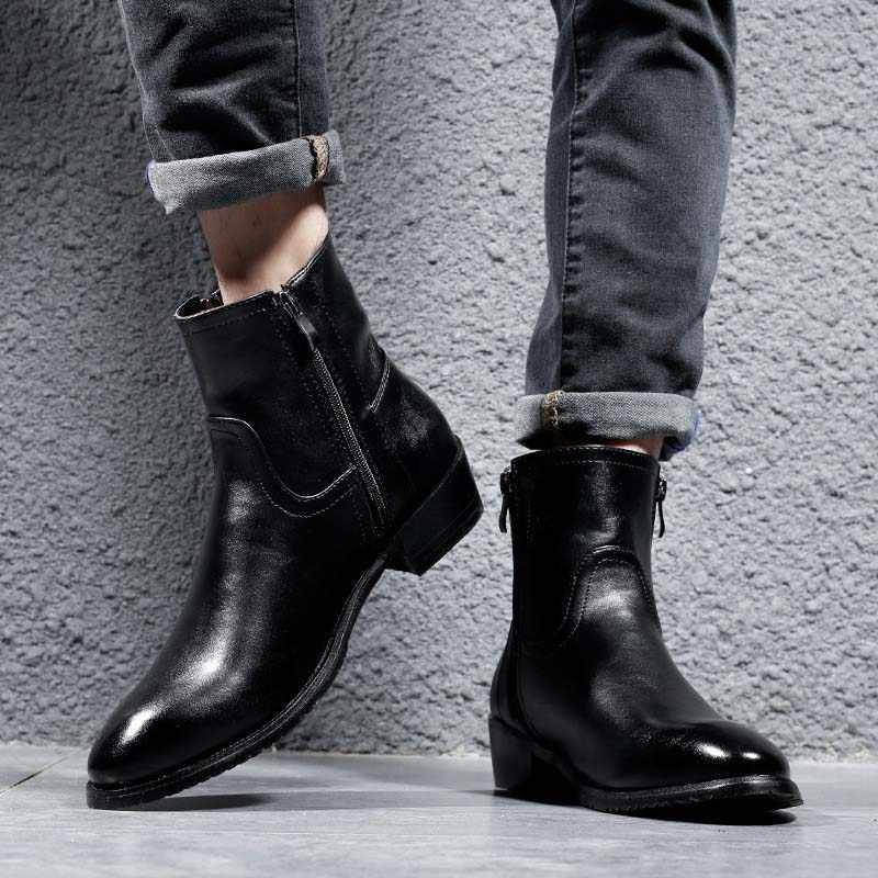 Masorini Genuine Leather Cowhide Winter Boots Men High Ziptop Chelsea Boots British Fashion Style Black Bootes Men Ww 139 Chelsea Boots Aliexpress