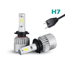 S2 Auto Car H3 H7 H8 880 9005 LED Headlights 2X36W 6500K 8000LM 12V COB Bulbs 2sides Diodes White Automobiles Replace Parts Lamp(China)