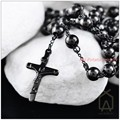 "Fashion Jewelry Christmas Gift 316L Stainless Steel Black Jesus Cross Pendant Rosary Beads Chain Men's Necklace (30""+5"")*8mm"