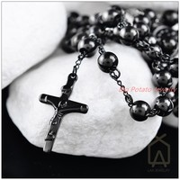 Fashion Jewelry Christmas Gift 316L Stainless Steel Black Jesus Cross Pendant Rosary Beads Chain Men S