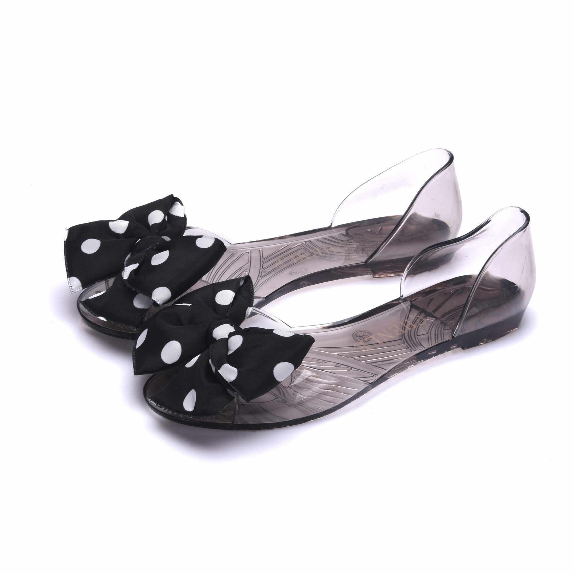 Đế bằng Mùa Hè Nữ Giày Nữ Ngọt Ngào Căn Hộ Trong Suốt Sandalias Đôi Giày Xinh Xắn Người Phụ Nữ Làn Sóng Điểm Scarpe Donna Nơ Giày Nữ