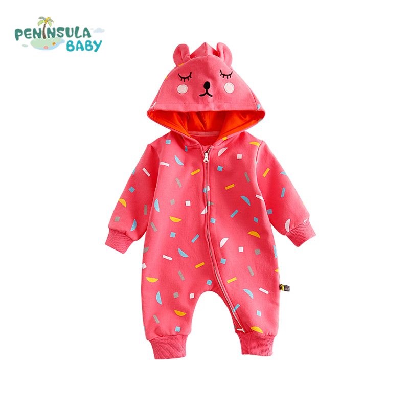 Baby Hooded Rompers Newborn Clothing Autumn Cartoon Bear Thicken Warm Clothes Girls Boys Long Sleeves Jumpsuit Children Clothing baby climb clothing newborn boys girls warm romper spring autumn winter baby cotton knit jumpsuits 0 18m long sleeves rompers