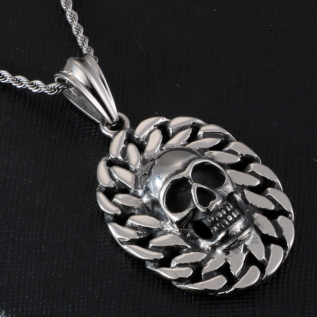 STAINLESS STEEL SKULL FACE NECKLACE