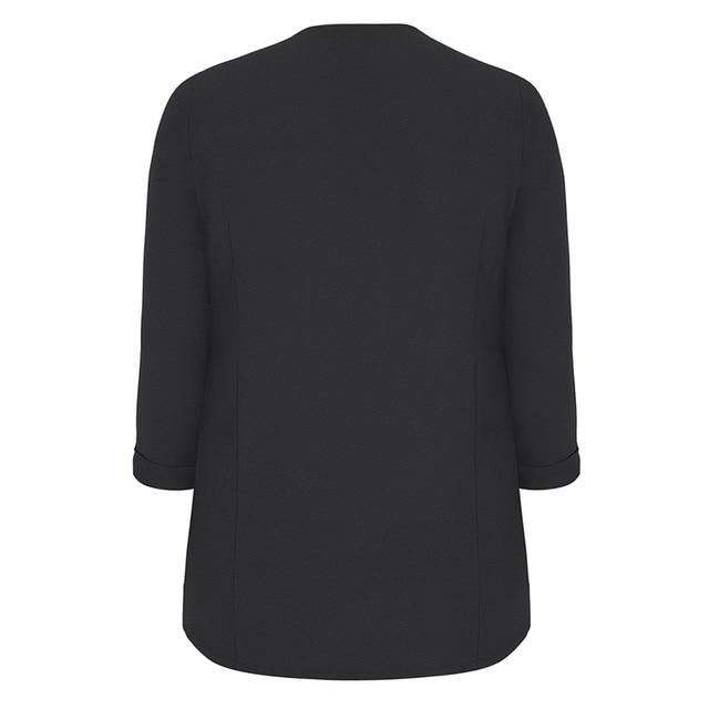 kissmilk 2018 Plus Size Solid Black Office Lady Women Blazers Notched Collar Zipper Long Sleeve Female Big Size Coats Outwears 3
