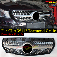 Fits For MercedesMB W117 Diamond Front Grille Sports ABS Silver CLA-Class Cla180 Cla200 Cla250 Without sign 2013-16