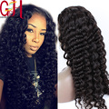 7A Unprocessed Virgin Brazilian Deep Wave Glueless Silk Base Lace Front Wig Silk Top Human Hair Full Lace Wig with Baby Hair