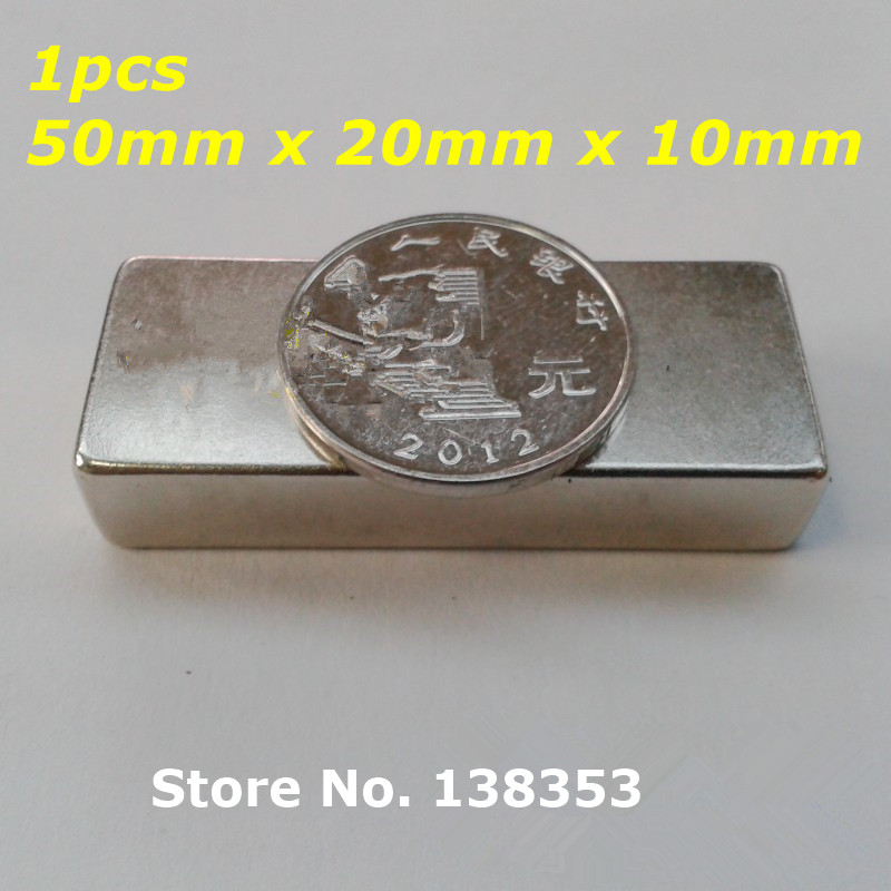 1pcs Bulk Super Strong Neodymium Rectangle Block Magnets 50mm x 20mm x 10mm N35 Rare Earth NdFeB Rectangular Cuboid Magnet hakkin 5pcs super strong neodymium magnet block cuboid rare earth magnets n35 20 x 10 x 2mm