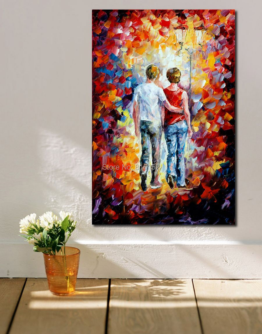 Lovers Of Intimacy Seducer Warm Kiss Modern Palette Knife Oil Painting Printed On Canvas Wall Art For Hotel Office Home Decor
