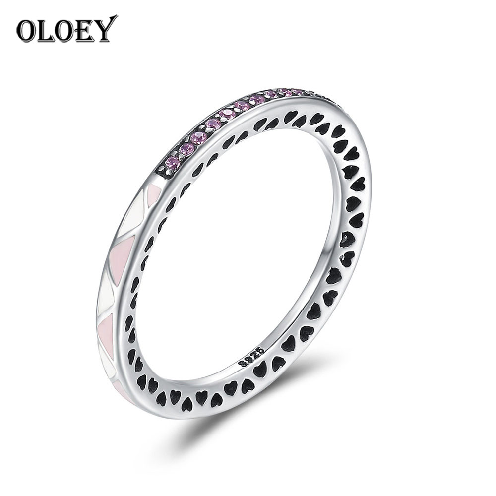 OLOEY Genuine 925 Sterling Silver Heart Rings for Women Ladies Wedding Band Finger Ring Bague Fine Jewelry New Arrival YMR162
