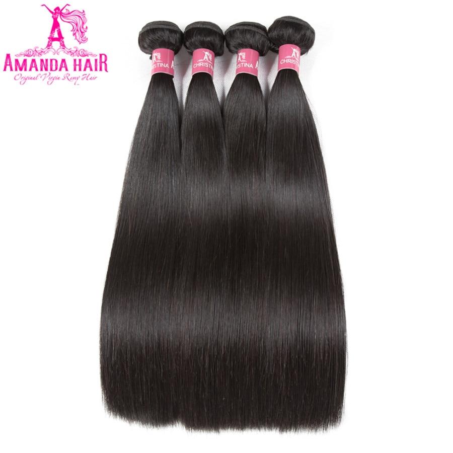 Amanda Grade 10A Malajské rovné vlasy 4 balíčky Extenze na vlasy - Zařízení pro kadeřnické salóny