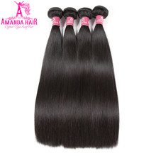 Amanda Grade 10A Malaysian Straight Hair 4 Bundles Human Hair Extensions Remy Hair 8-28 Inch Natural Color Gratis forsendelse
