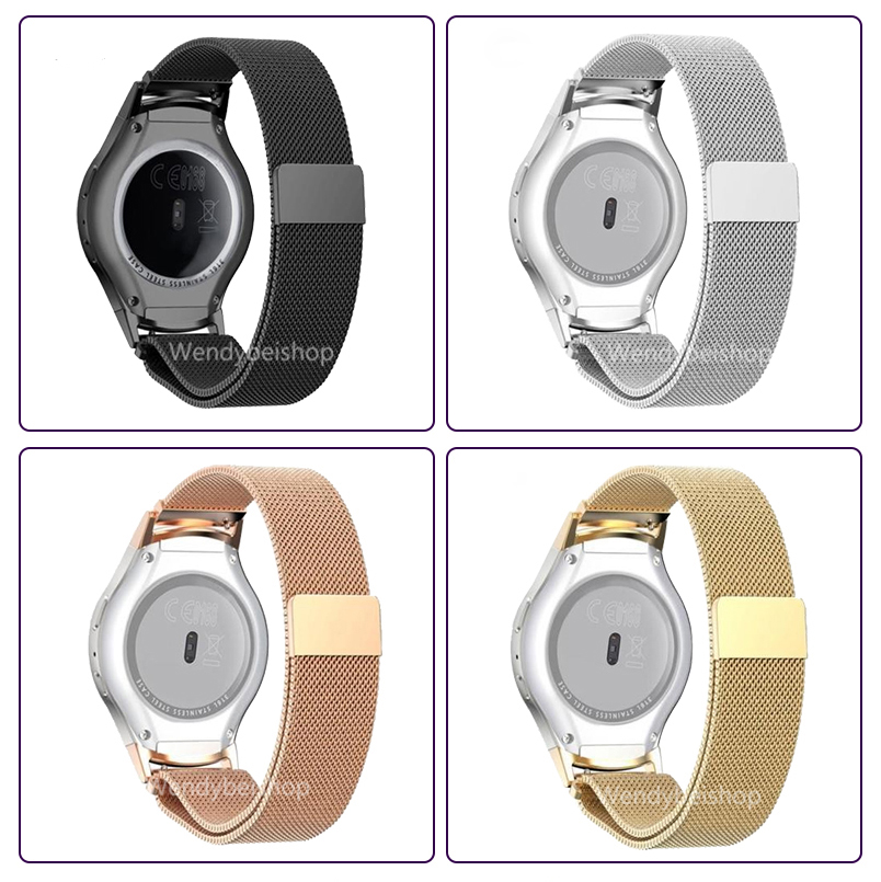 Black Silver Gold Mesh Milanese Loop Steel Bracelet Wrist Watch Band Strap with Adapter Connector For Samsung Gear S2 R720 v moro stainless steel milanese loop band for apple watch 38mm 42mm with strap adapter