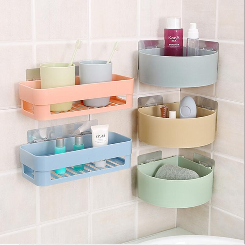 Home Improvement Bathroom Shelf Adhesive Lightweight Multi-functional Organizer Storage Commodity Shelf Rack For Bathrooms Balcony Kitchen