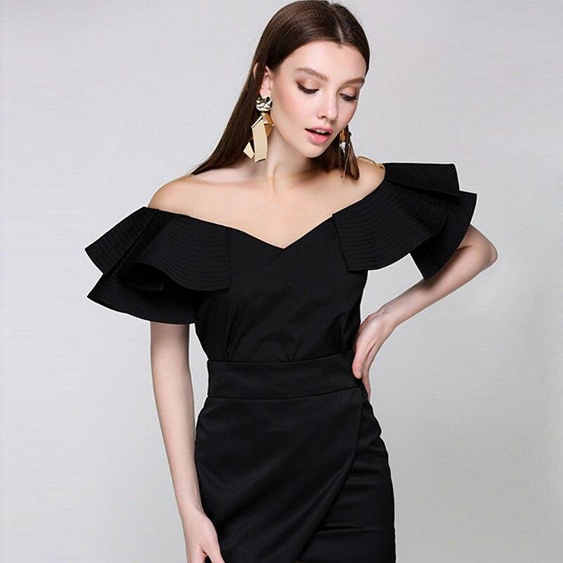Schulterfrei Top Frauen Bluse Neuheit Design Feste Schmetterling Ärmel Netz Verstärktes Hals Freizeithemd Neue Mode-stil 2017