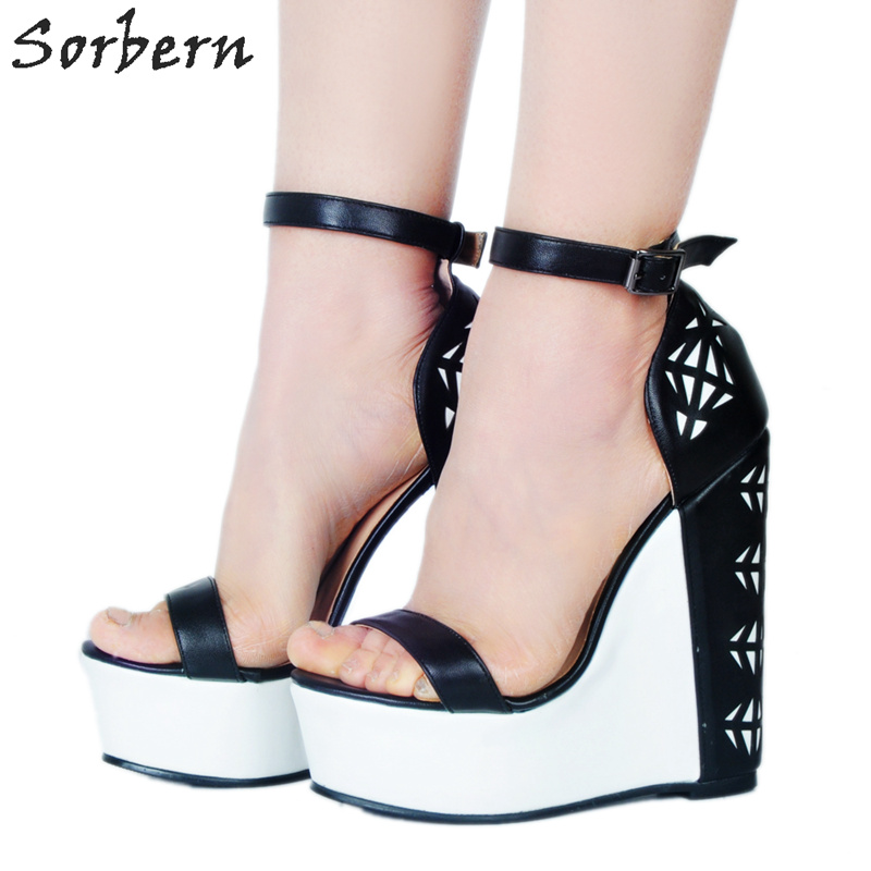 Sorbern Black And White Women Shoes High Heels Sandals Ankle Strap Diy Color Sexy Heels Platform Heels Hidden Wedge Shoes