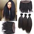 8A бразильские волосы курчавые прямо 3 расслоения с фронтальной 100% человеческих волос грубый яки прямые волосы соткет с кружево фронтальной