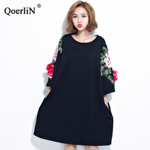 QoerliN Embroidery Floral Dress Summer Women Black Loose Casual Shirts Dresses Female Clothing Oversized Vestidos Pocket T-Shirt