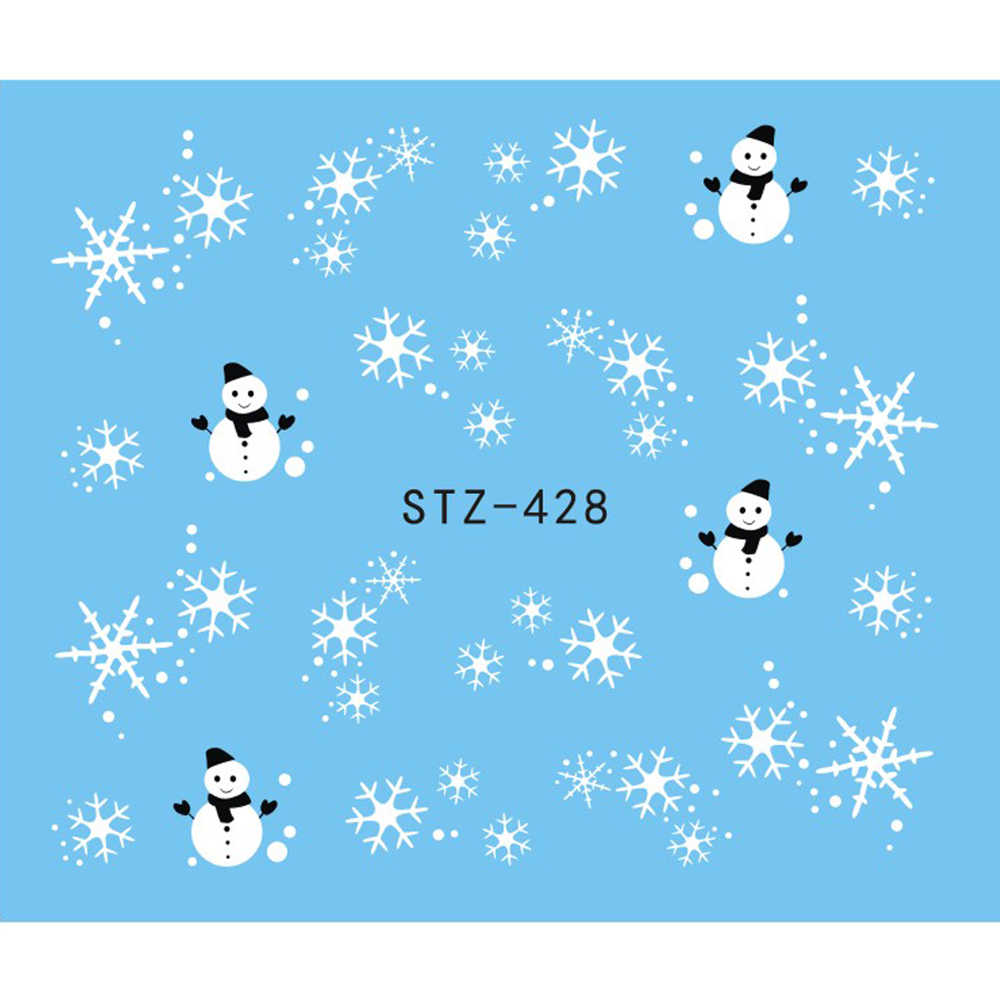 1 Sheet Nail Sticker Christmas White Black Snowflake Snowman Decals Winter Nail Wraps Decoration Manicure Tools Slider JISTZ428