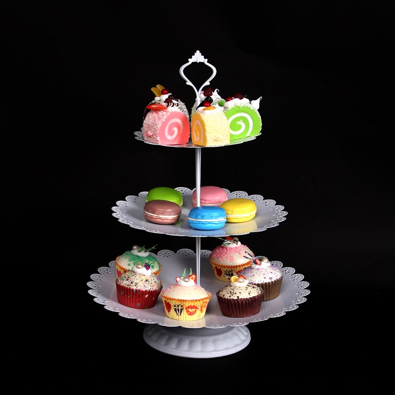 9Pcs Set Fancy Round Birthday 3 Tier Gold White Pink Metal Wedding Cake Stand in Stands from Home Garden
