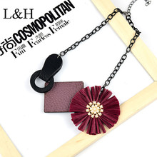 L&H Brand New Design Bohemia Leather Lafite Flower Charm Special Pendant Necklace For Women 2018 Fashion Sweater jewelry Gift
