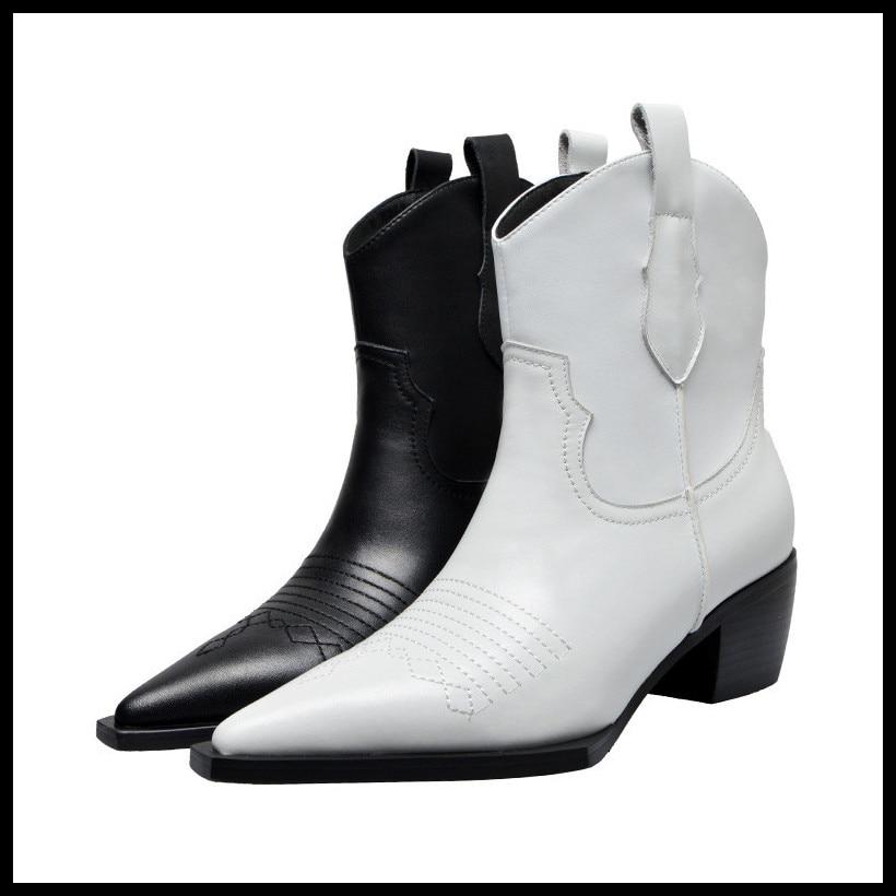 Vrouwen laarzen lederen vrouwen schoenen vintage enkel schoenen 2019 nieuwe slip op ontwerp vierkante hak herfst winter schoenen vrouw-in Enkellaars van Schoenen op  Groep 1