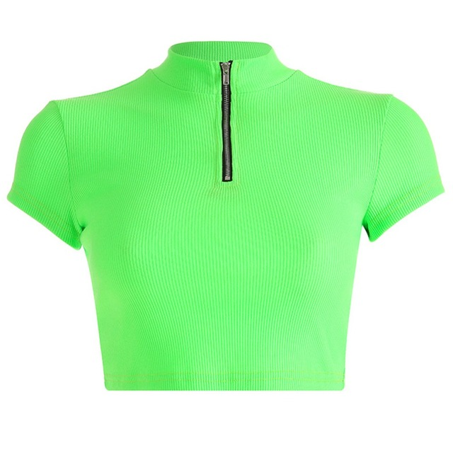Moda Neon verde tejido camiseta mujer manga corta cremallera Crop Tops camisetas 2019 verano Streetwear Sexy camisetas ropa
