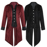 New Wool Coat Fashion Mens Tailcoat Jacket Goth Steampunk Uniform Costume Praty Outwear Coat Male Clothes