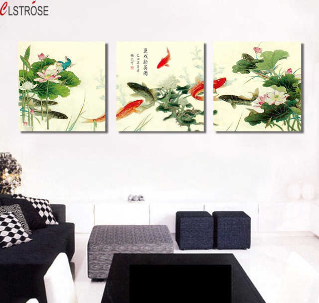 CLSTROSE Cuadros Decoracion Wall Paintings 3 Piece Canvas Prints Koi Fish Art Modern Office Painting Fashion Home Decoration
