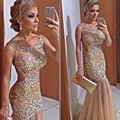 Sin respaldo champagne sirena vestidos de baile 2017 recién oro rebordear brillante vestido de noche party dress larga de baile vestido vestido formatura