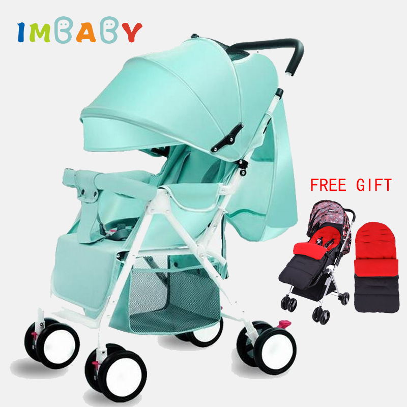 IMBABY Light Baby Stroller For Dolls Baby Carriages For Newborns With Warm Sleeping Bag Foot Covers High Landscape Baby Pram imbaby luxury baby stroller carriages high landscape baby prams with music player for newborns baby carriages for children