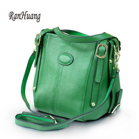 RanHuang New Arrive 2018 Women Genuine Leather Shoulder Bags Small Handbags Ladies Fashion Bucket Bags Cow Leather Messenger Bag