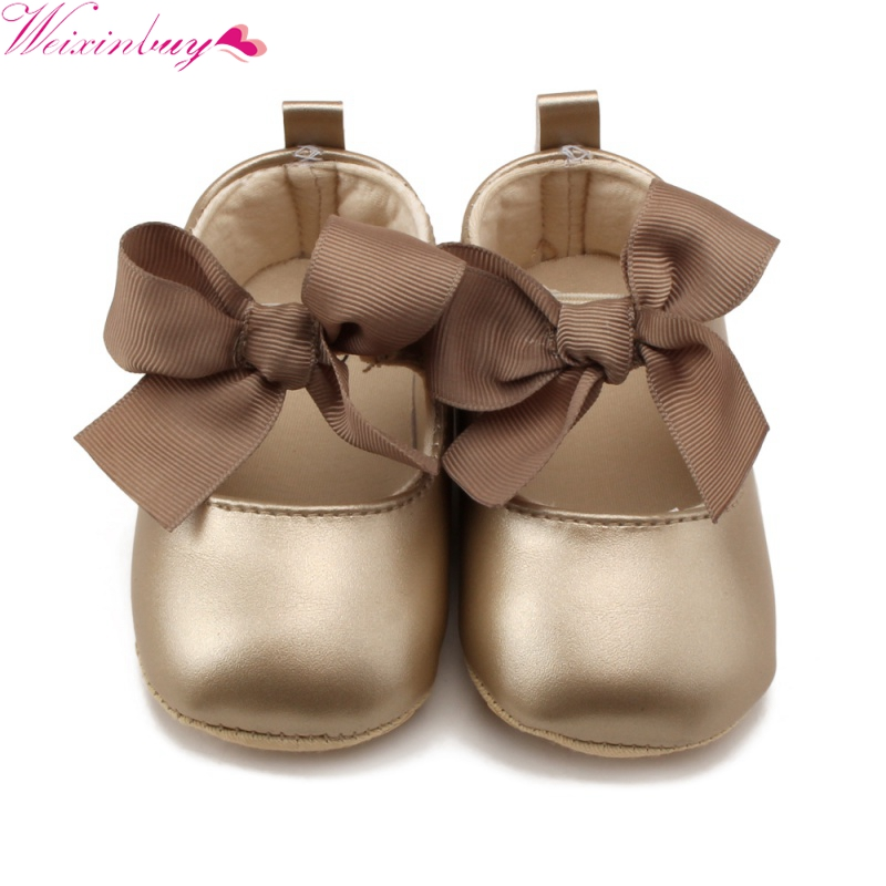 2018 New Baby Girls PU Leather Bowknot Decorated Non-slip Princess Shoes Baby Infant Shoes First Walkers 0-18M M2