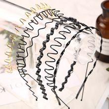 Ободок для волос унисекс из металлического сплава, весенняя волна, металлический цвет, эластичный обруч для волос, железное ремесло, твист, Плетеный, для мытья лица, Геометрическая повязка на голову