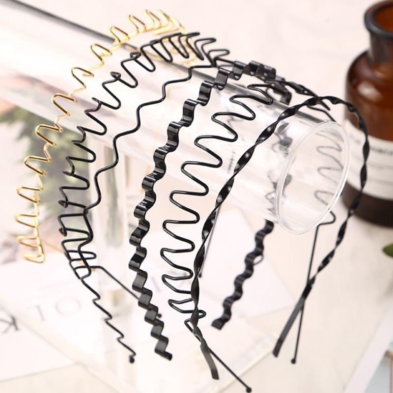 Unisex Metal Alloy Hairband Spring Wave Metallic Color Elastic Hair Hoop Iron Craft Twist Braided Wash Face Geometric Headband