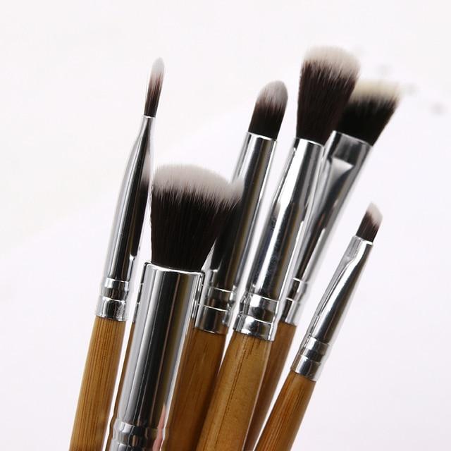 6pcs Bamboo Handle Eye Makeup Brushes Professional Flat Angled Brush Pincel Maquiagem Cosmetics Make Up Brushes Set Hairbrush 3