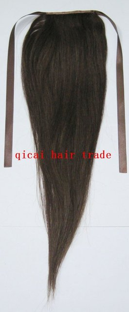 "the best christmas gift 20"" hunman hair ponytail 80g extensions #4 brown real human hair straight free ship"