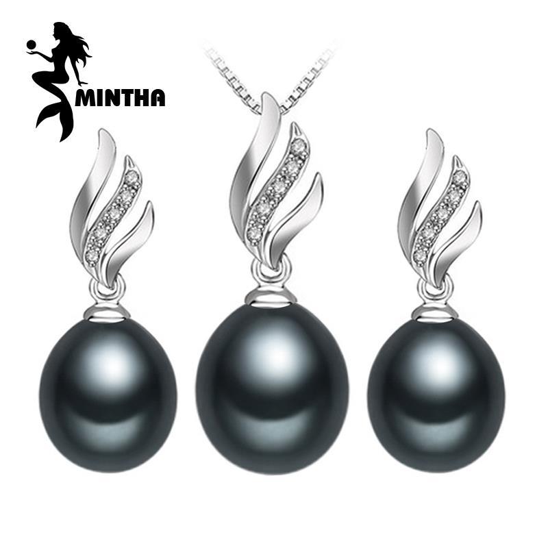 MINTHA Nice Natural Pearl Jewelry Sets 925 Sterling Silver Pendant Necklace Women Pearl Drop Earrings Fine Jewelry Wedding