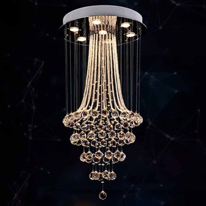 Image 2 - עגול עיצוב מודרני נברשת קריסטל LED אור AC110 220V יוקרה קריסטל תקרת נברשת בית תאורה