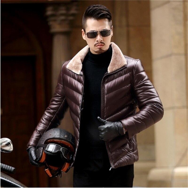 L Zalea De Chaqueta Cuero Piel La Abrigo Capa 4xl Nuevo Real Hombres 3 Invierno 1 Lana Caliente 2018 Motocicleta 2 8xf5qwzXv