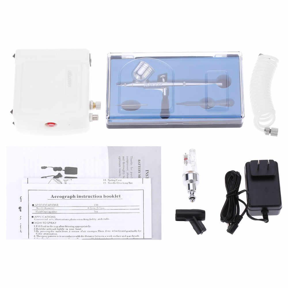 Çift Eylem Airbrush hava kompresörü Takımı aerografo Sanat Boyama için püskürtme tabancası Tırnak Aracı Seti + Hava fırça Temizleme Onarım alet setleri