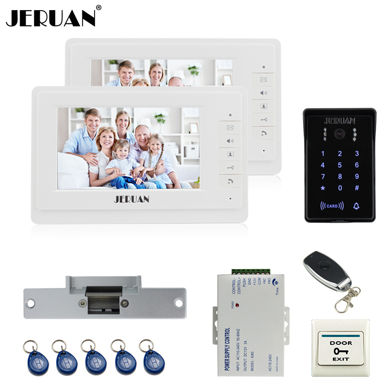 JERUAN 7`` video doorphone intercom system Kit 2 monitor brand new RFID waterproof Touch Key password keypad Camera Cathode lock jeruan wired 7 touch key video doorphone intercom system kit waterproof touch key password keypad camera 180kg magnetic lock