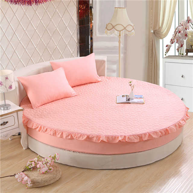 Princess Round Sheet 100 Cotton Quilted Ed 3pcs Set Circle Elastic Bed Cover