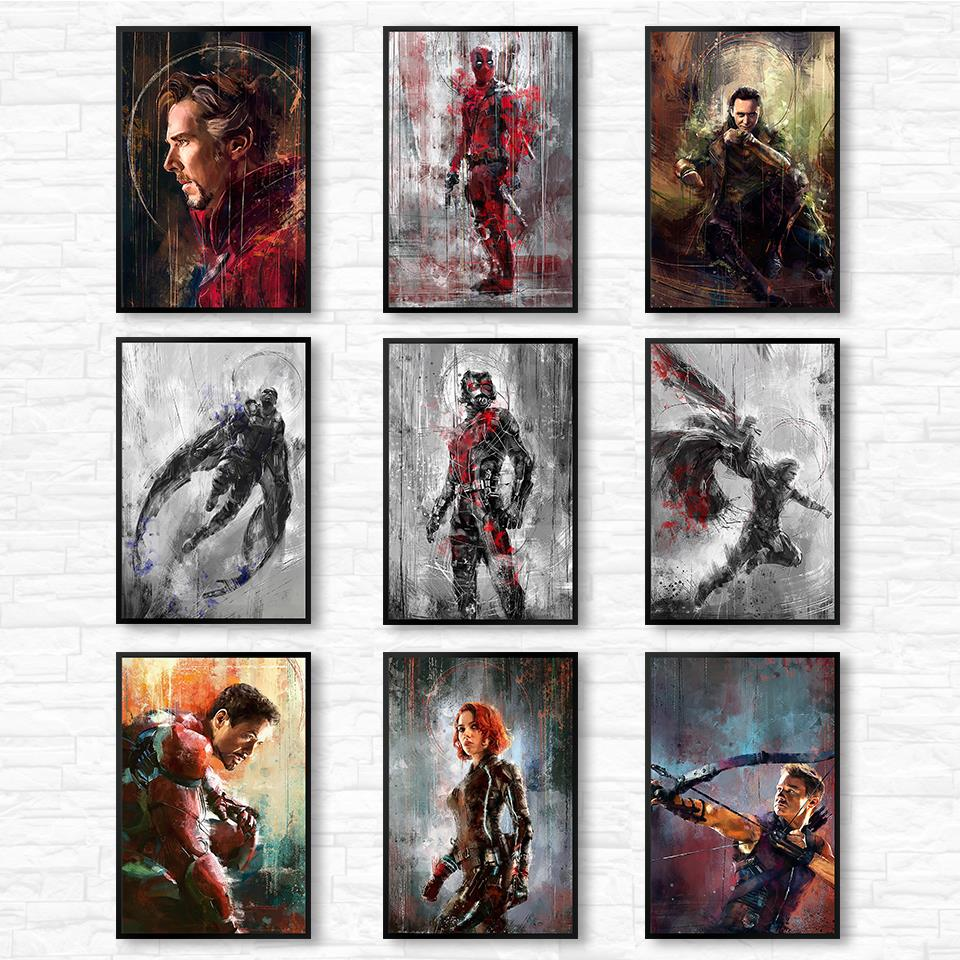 Wall Art Poster Print Canvas Painting Wall Pictures For Home Decor Marvel Avenger Movie Superhero Deadpool Iron Spider Man Loki