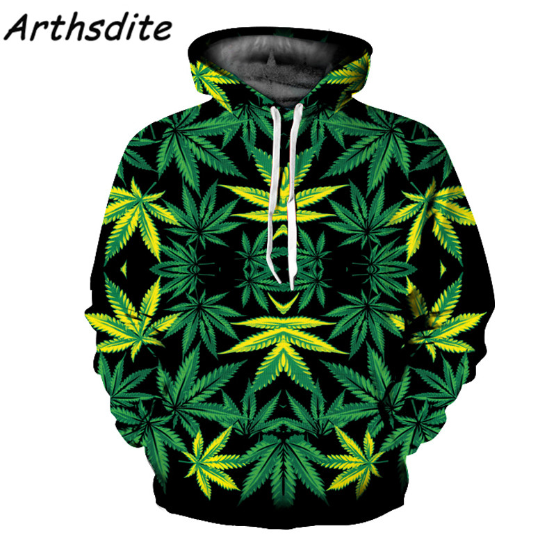 Arthsdite Winter Fashion Men/Women Hoodies with Cap Print Plus Size Green Leaves 3d Hooded Sweatshirts Couples Hoody Tracksuit