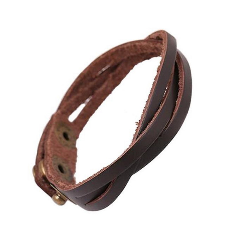 Kittenup Punk Rock Style Cool Simple Braided Unisex Leather Hand Wrap Bracelets Wristband Cuff Jewelry