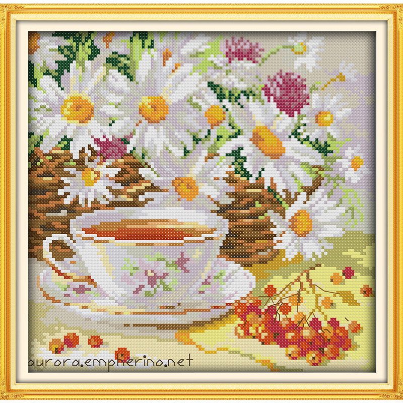 Afternoon Tea Coffee Flowers Daisy Painting Geteld Gedrukt op Canvas - Kunsten, ambachten en naaien