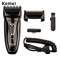 Kemei dual-cabeça barbeador elétrico para homens recarregável barbeador elétrico cabelo clipper 100-240 v homens barbeador aço lâmina de barbear máquina